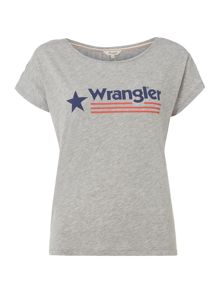 Wrangler Short sleeved logo tee in mid grey melange