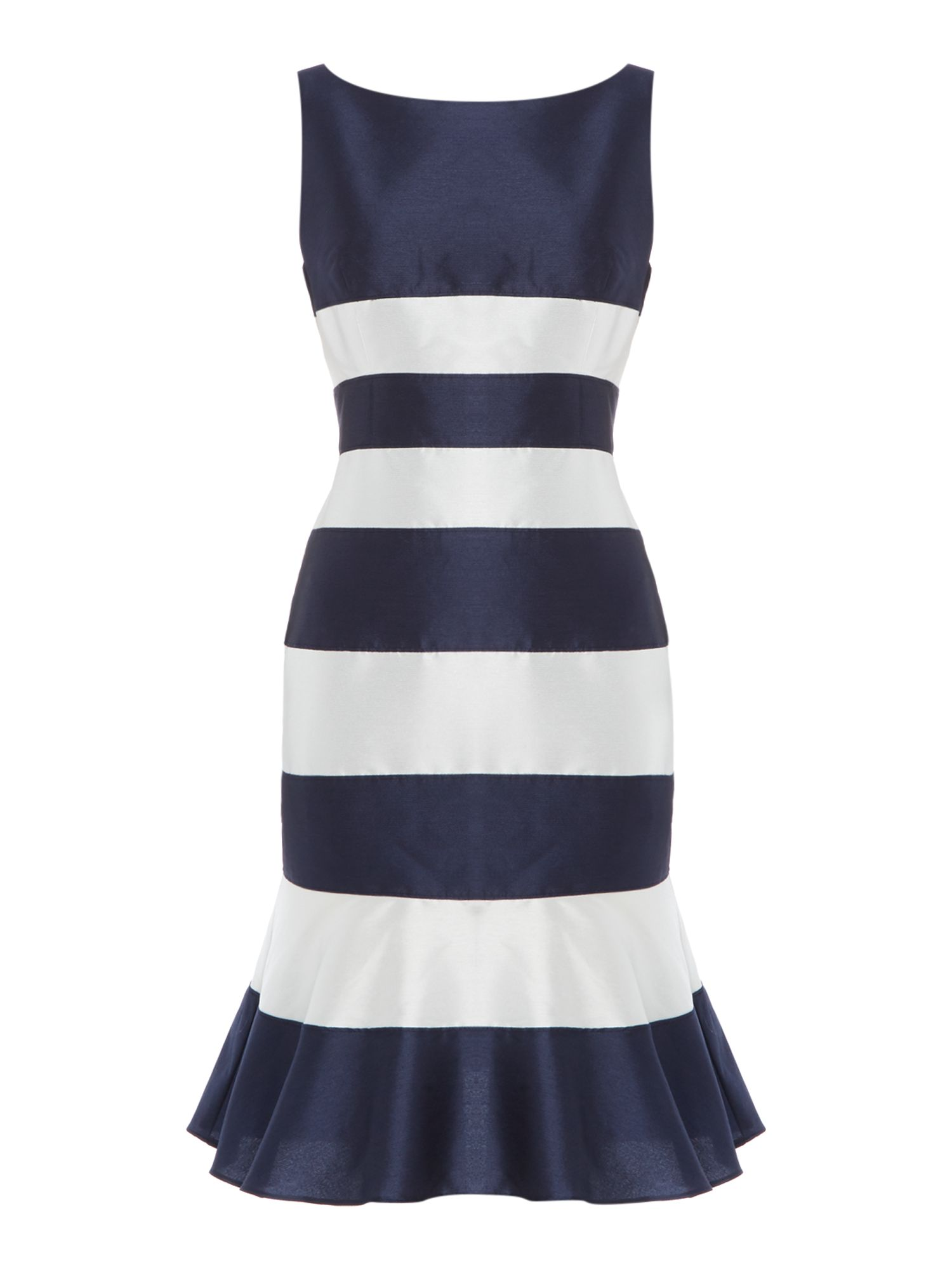 Adrianna Papell Stripe satin dress with kick hem, Blue Stripe
