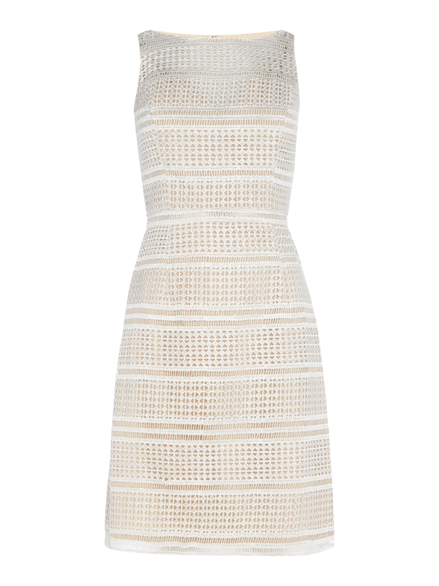Adrianna Papell Sleeveless lace shift dress, White