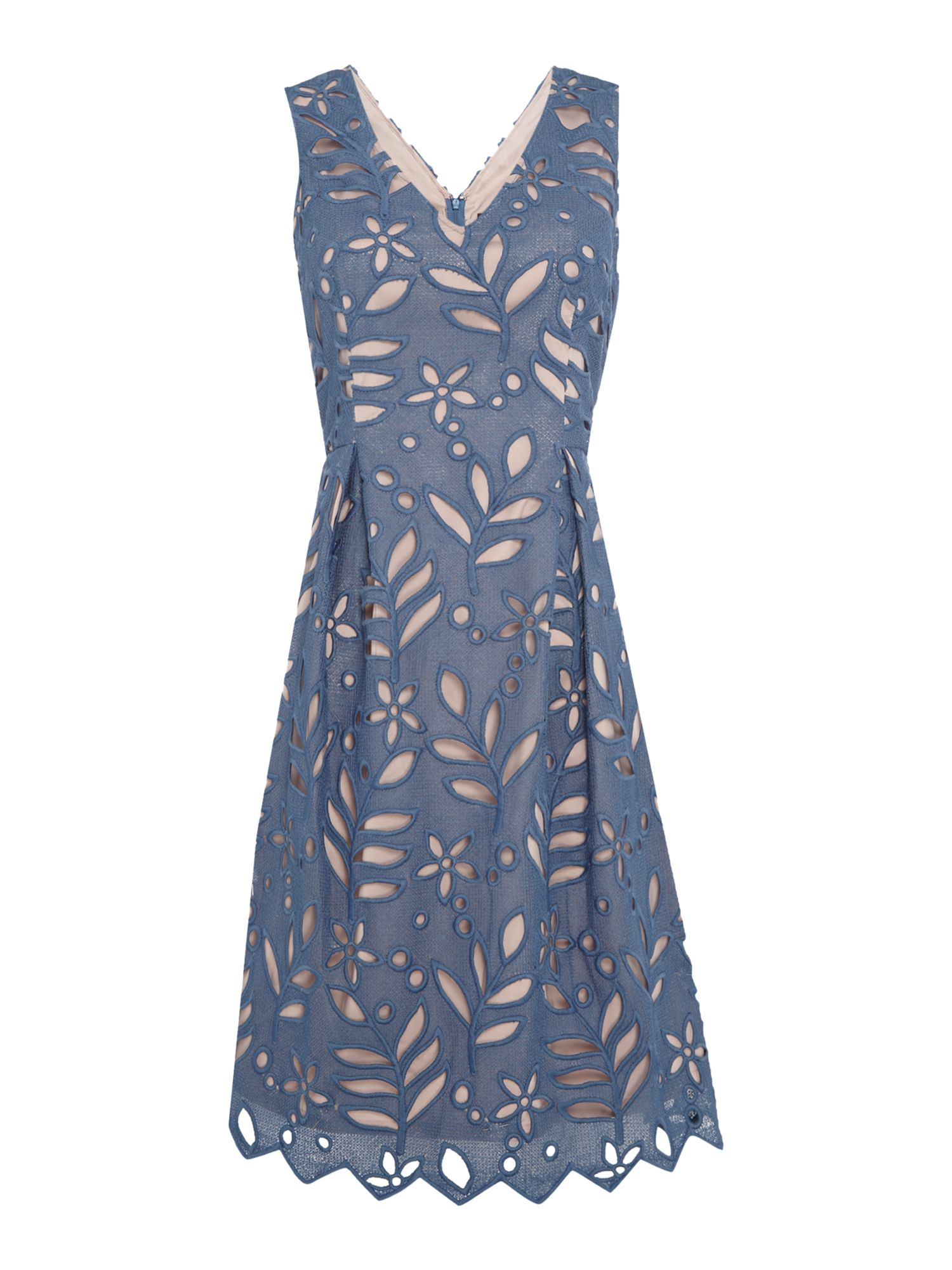 Adrianna Papell Sleeveless botanical lace fit and flare dress, Blue