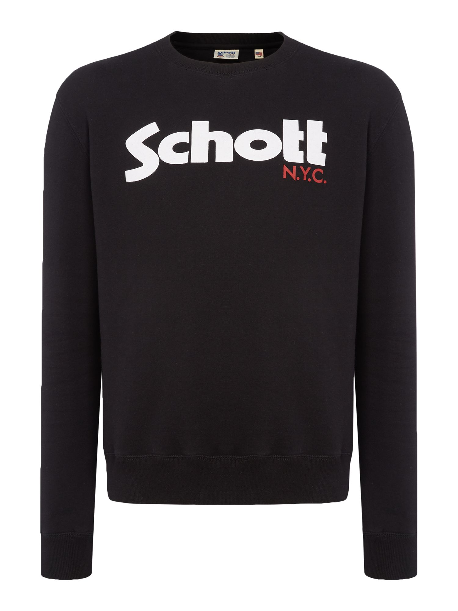 Men's Schott Large logo crew neck sweatshirt, Black