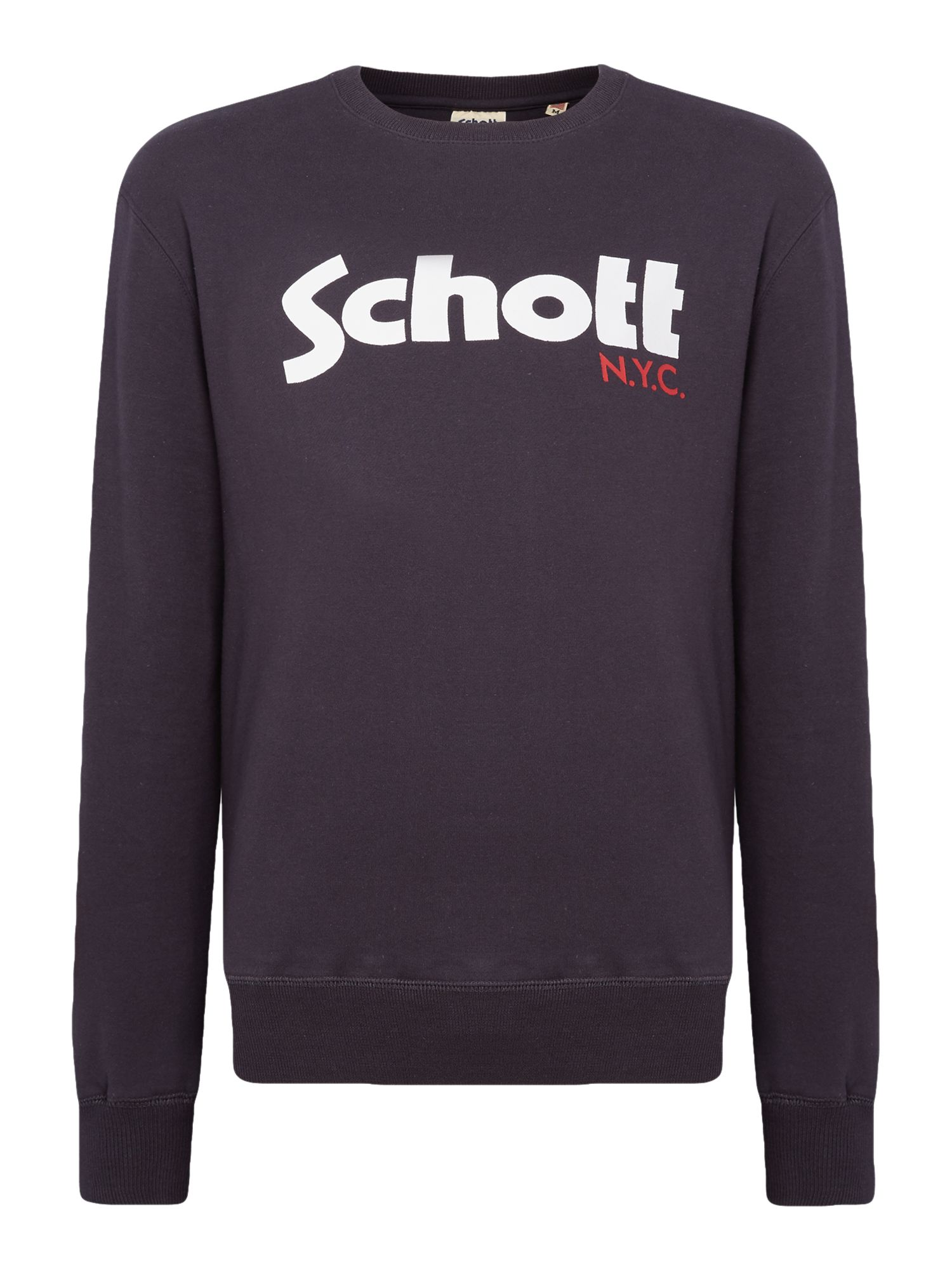 Men's Schott Large logo crew neck sweatshirt, Blue