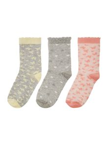 Benetton Girls Pink 3 Pack Socks