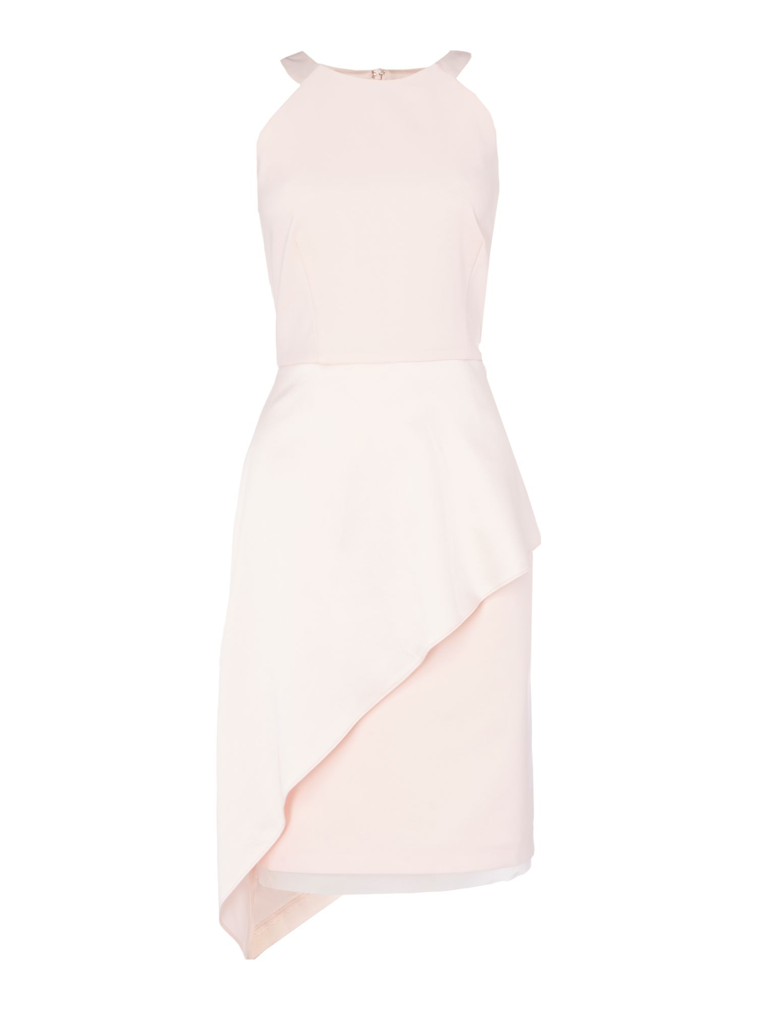 Ariella Sleeveless satin ruffle shift dress, Pink