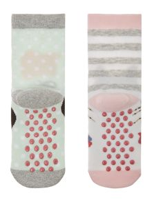 Benetton Girls Cat and Dog 2 Pack Socks