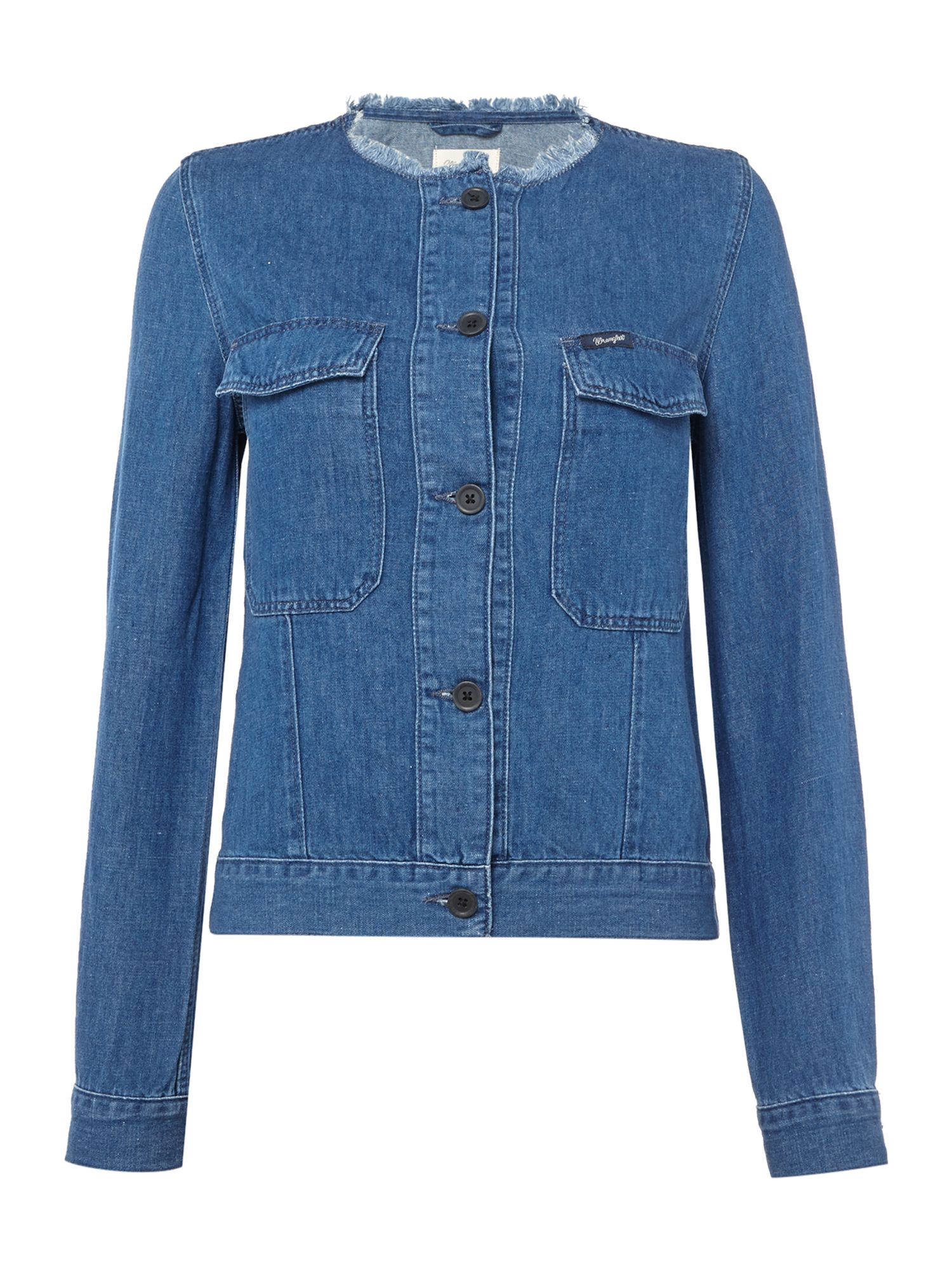 Wrangler Collarless jean jacket in summer breeze, Indigo