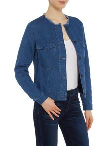 Wrangler Collarless jean jacket in summer breeze