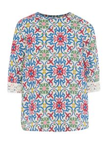 Benetton Girls Mosaic Print Lace Trim Lond Sleeve Blouse