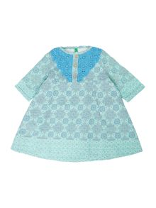Benetton Girls Mosaic Print Lace Collar Long Sleeve Dress