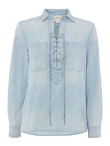 Denim and Supply Ralph Lauren Lace Front-Long Top Faded Indigo W