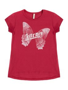 Benetton Girls Butterfly Journey Short Sleeve T-Shirt