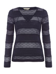 Denim and Supply Ralph Lauren Long Sleeved Lace up Knit in Classic Navy