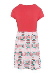 Benetton Girls Solid Top and Print Skirt Dress