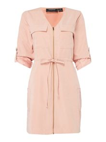 Mink Pink Empire zip front shirt dress