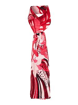 Large logo long feather print scarf