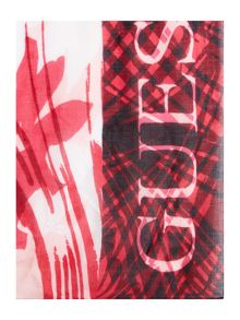 Guess Large logo long feather print scarf