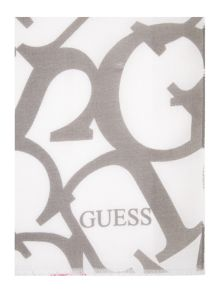 Guess Logo floral long scarf
