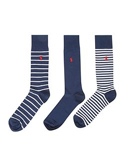 3 Pack Stripe and Heel Toe Socks