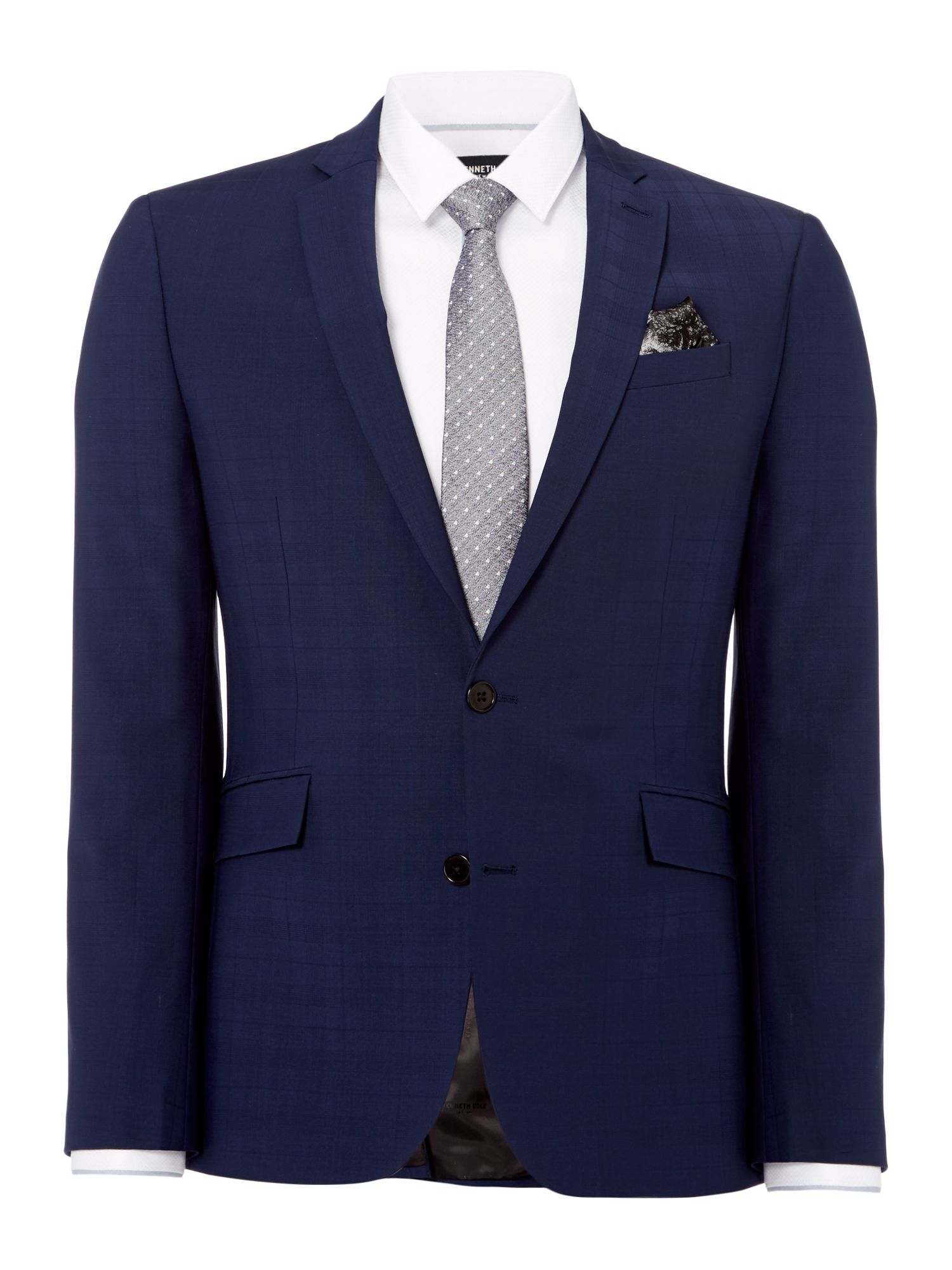 Mens Kenneth Cole Luxo Slim Fit Tonal Checked Suit Jacket Navy
