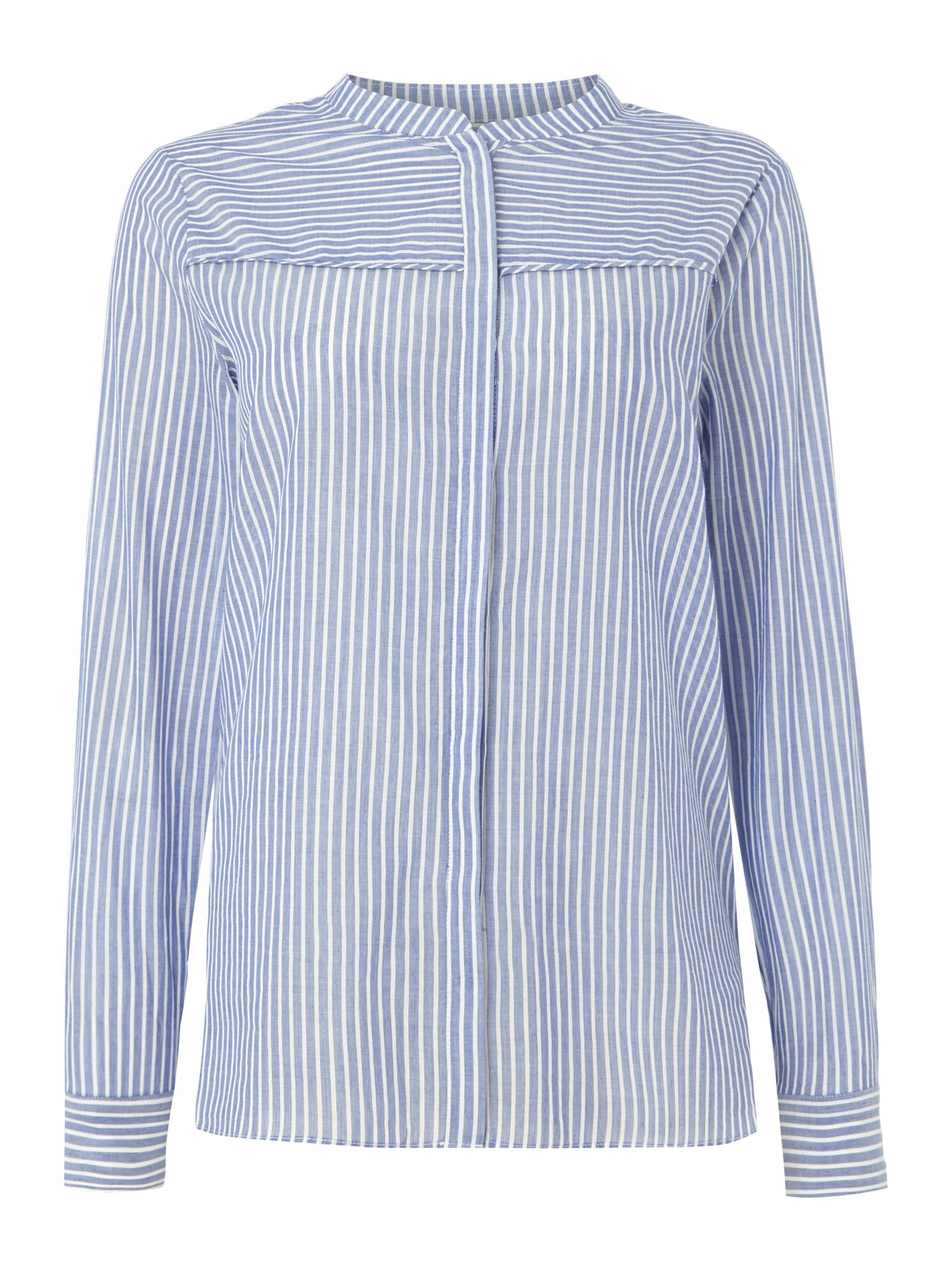 Second Female Long Sleeve Pinstripe Evaline Blouse, Light Blue