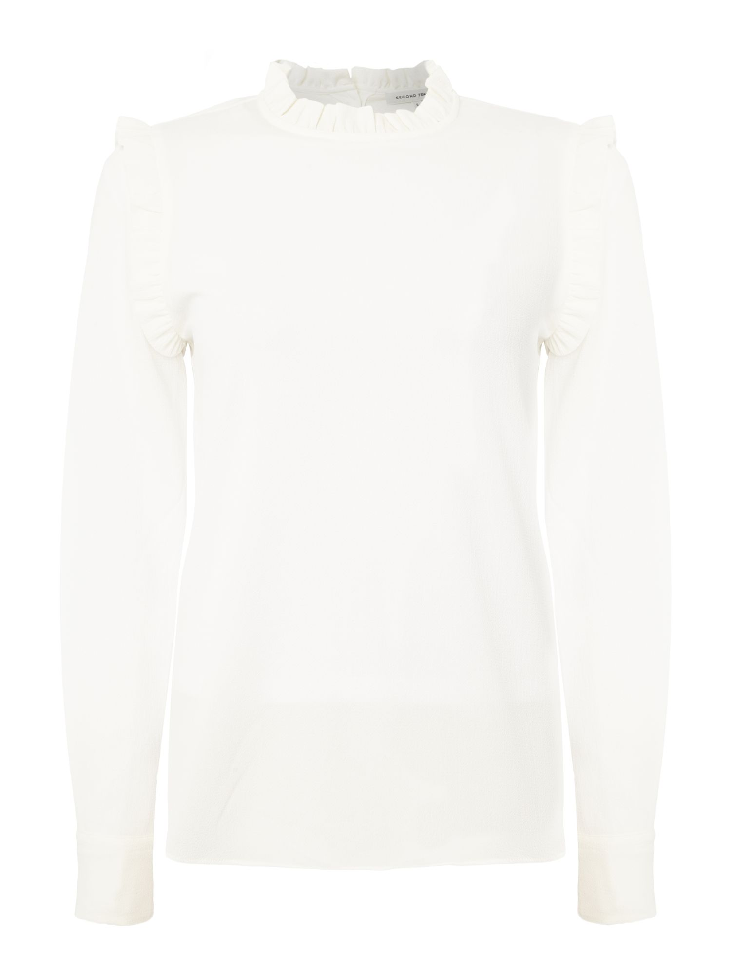 Second Female Long Sleeve Mist Blouse with Frill Collar, White