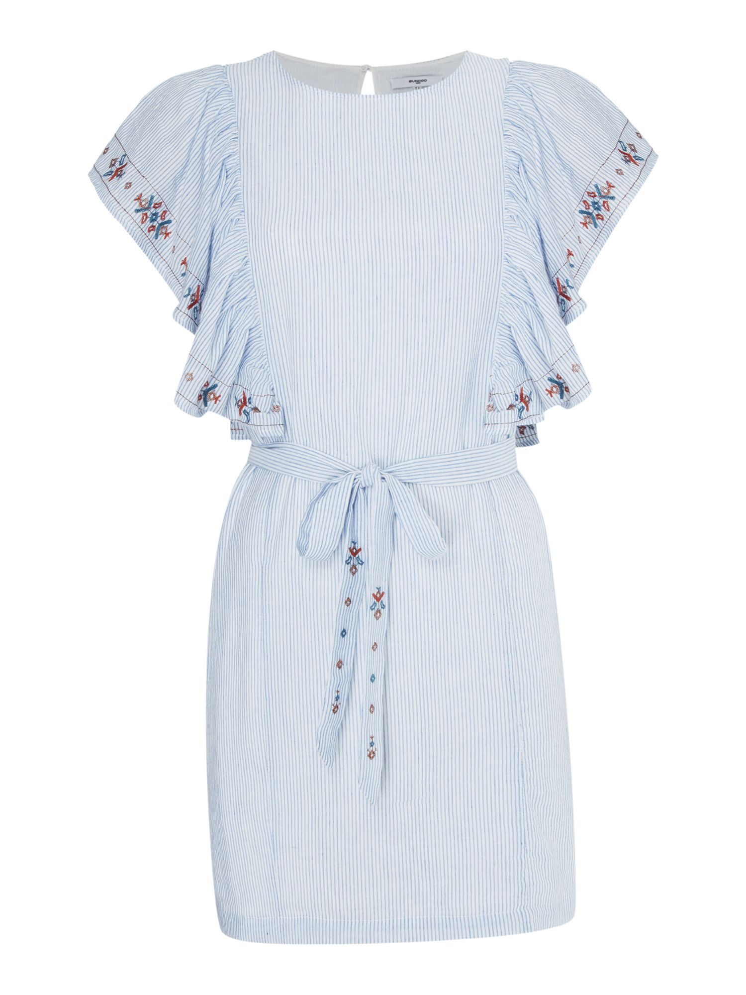 Suncoo Cassandre Embroidered Tie Waist Dress, Blue