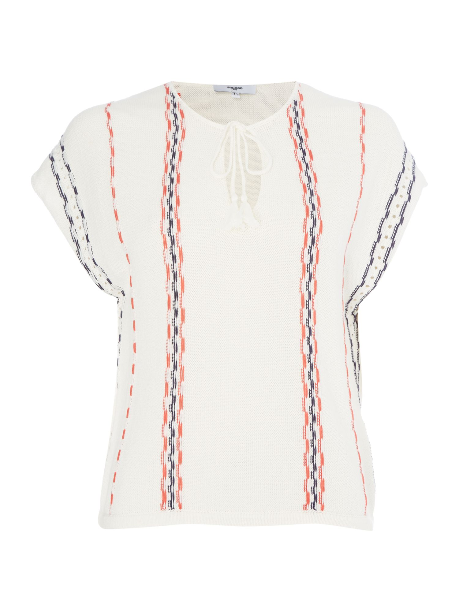 Suncoo Paquerette Short Sleeve Stripe Top, Cream