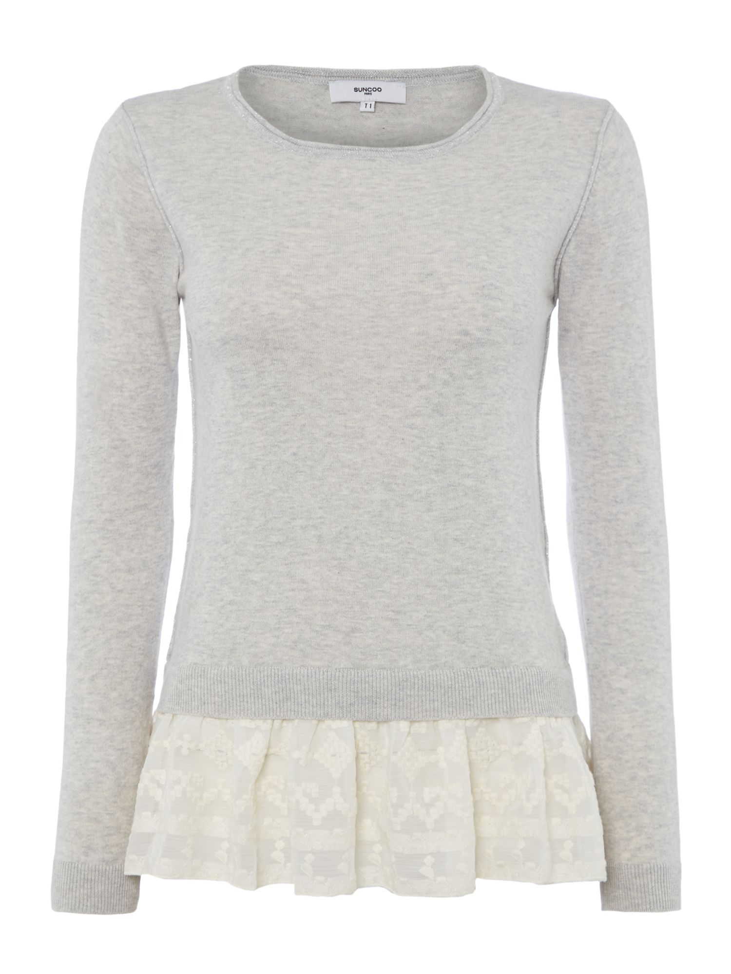 Suncoo Prisca Long Sleeve Knit With Lace Peplum, Grey