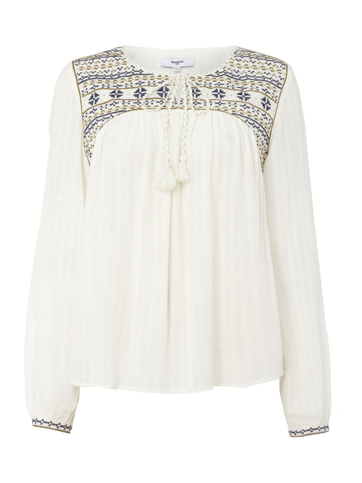 Suncoo Louve Embroidered Blouse, Cream