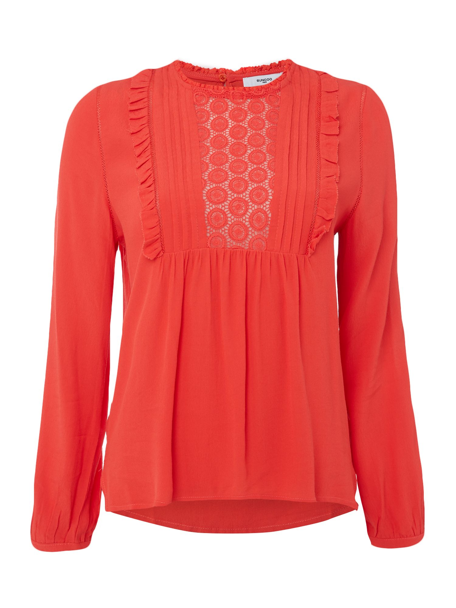 Suncoo Louise Crochet Blouse, Red