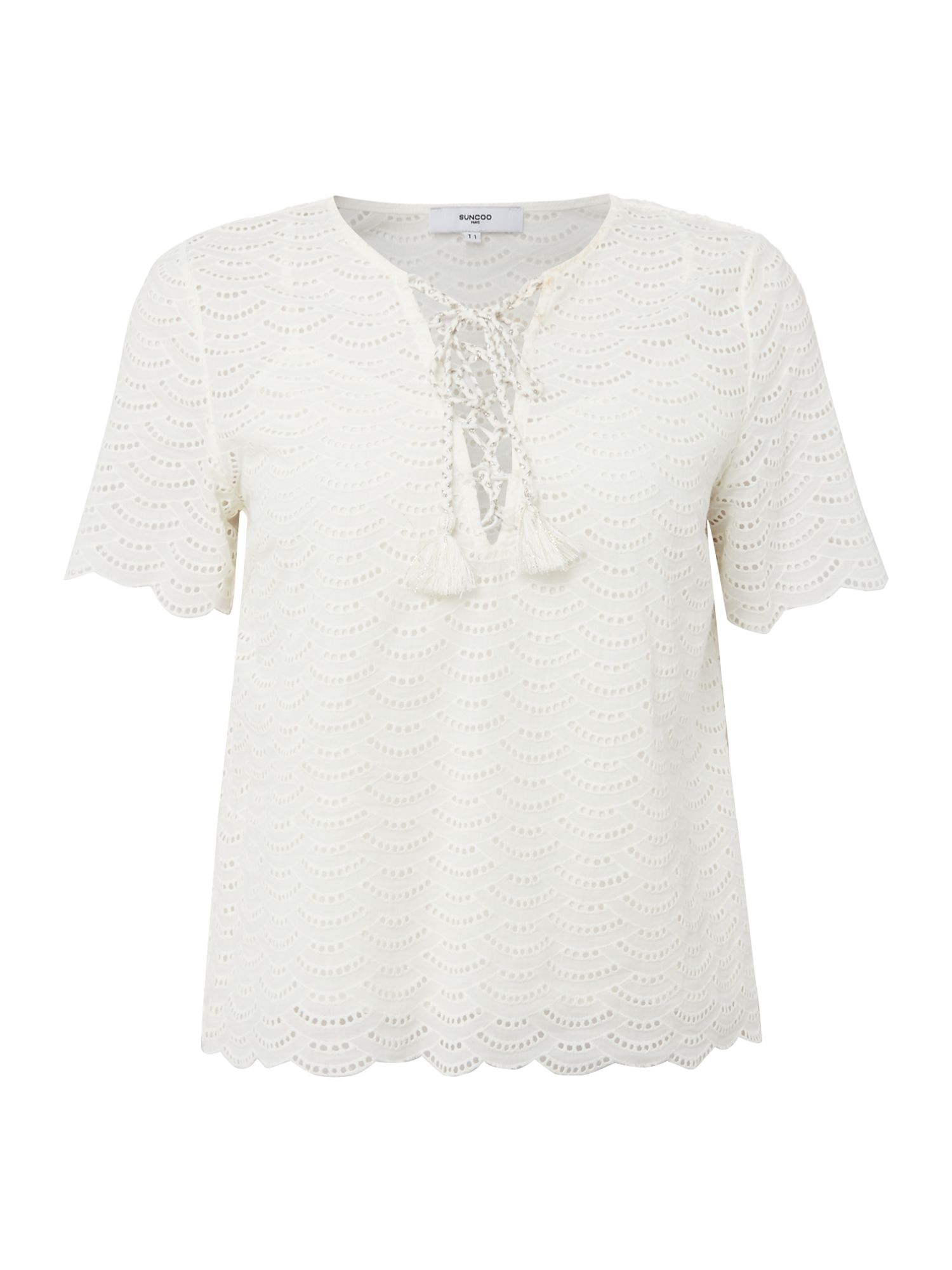 Suncoo Leonide Drawstring Top, Cream