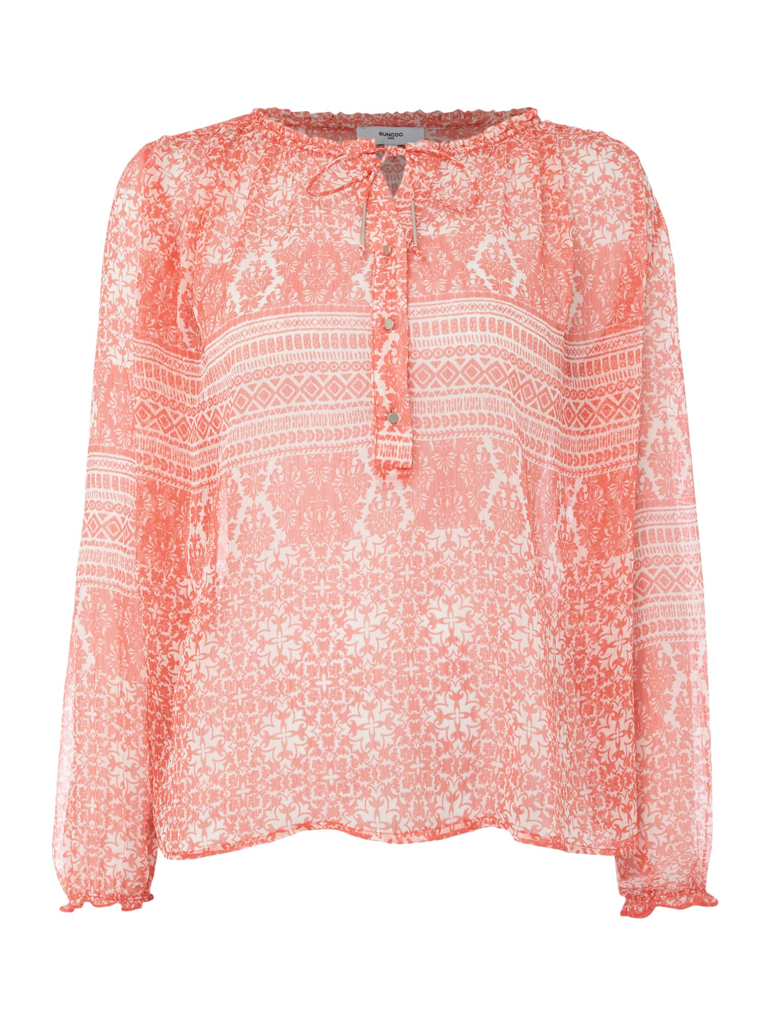 Suncoo Loic Printed Long Sleeve Blouse with Tie, Red