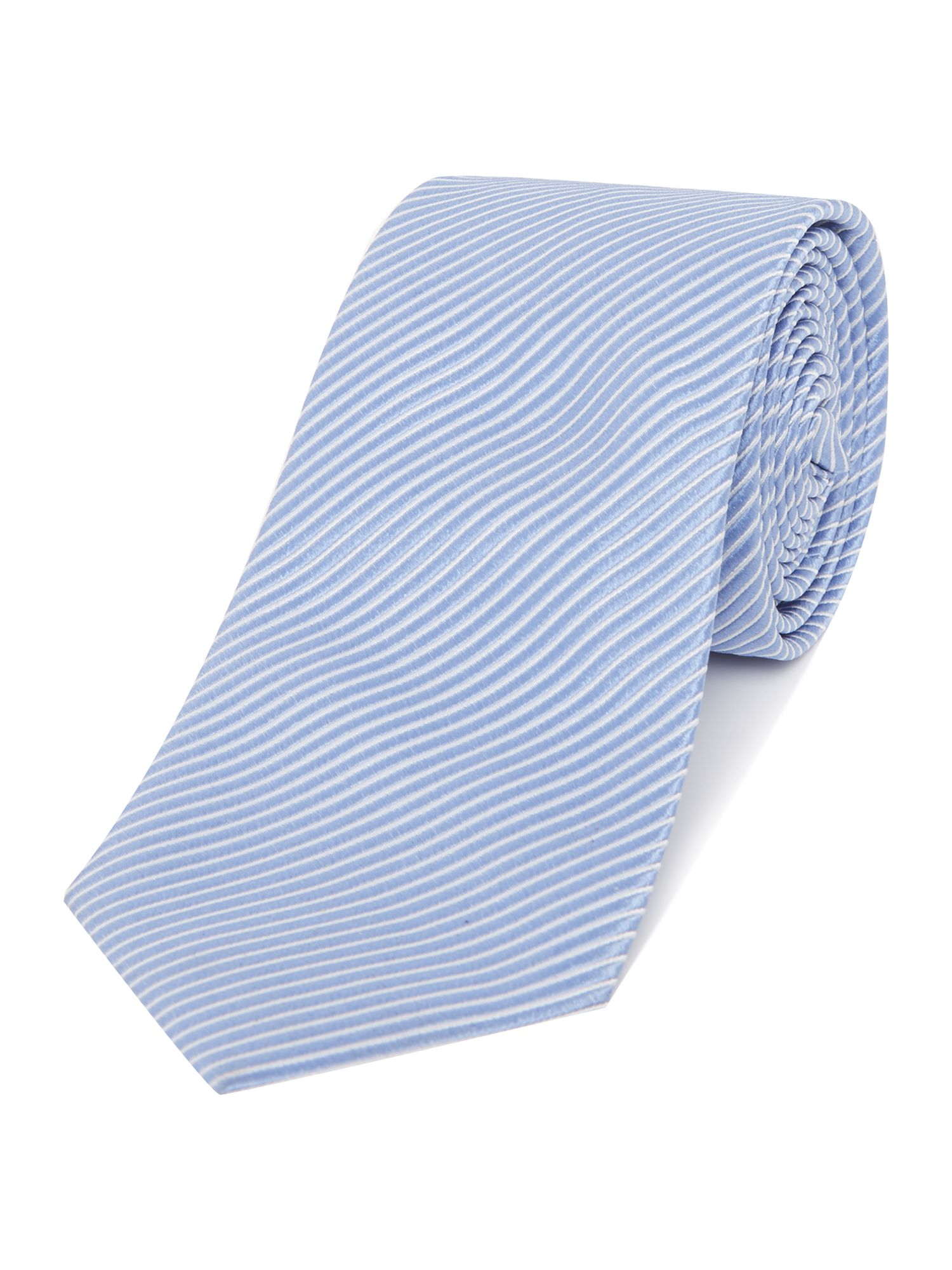 Armani Collezioni Stripped Silk Tie Light Blue