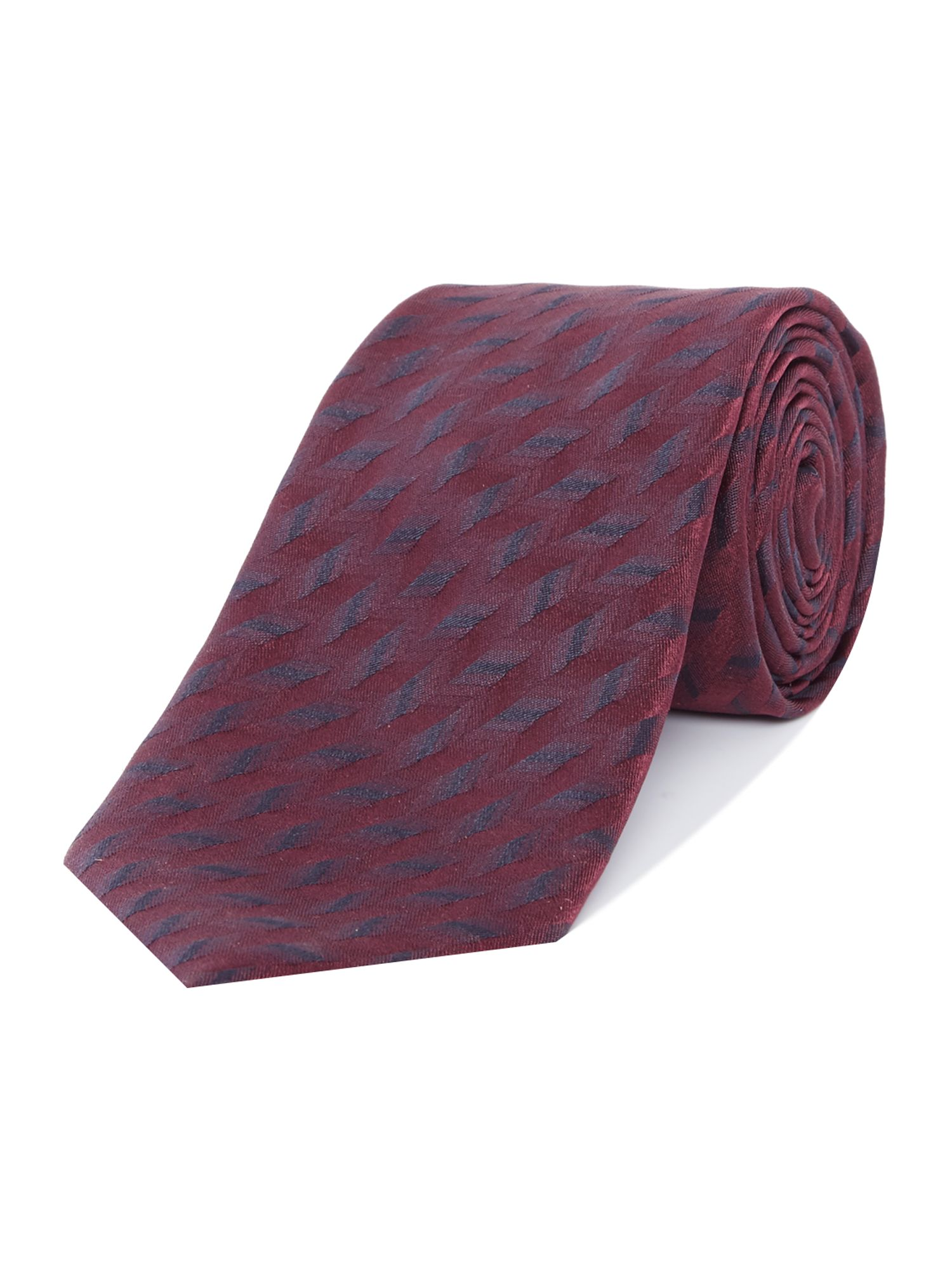 Armani Collezioni Patterned Silk Tie Bordeaux