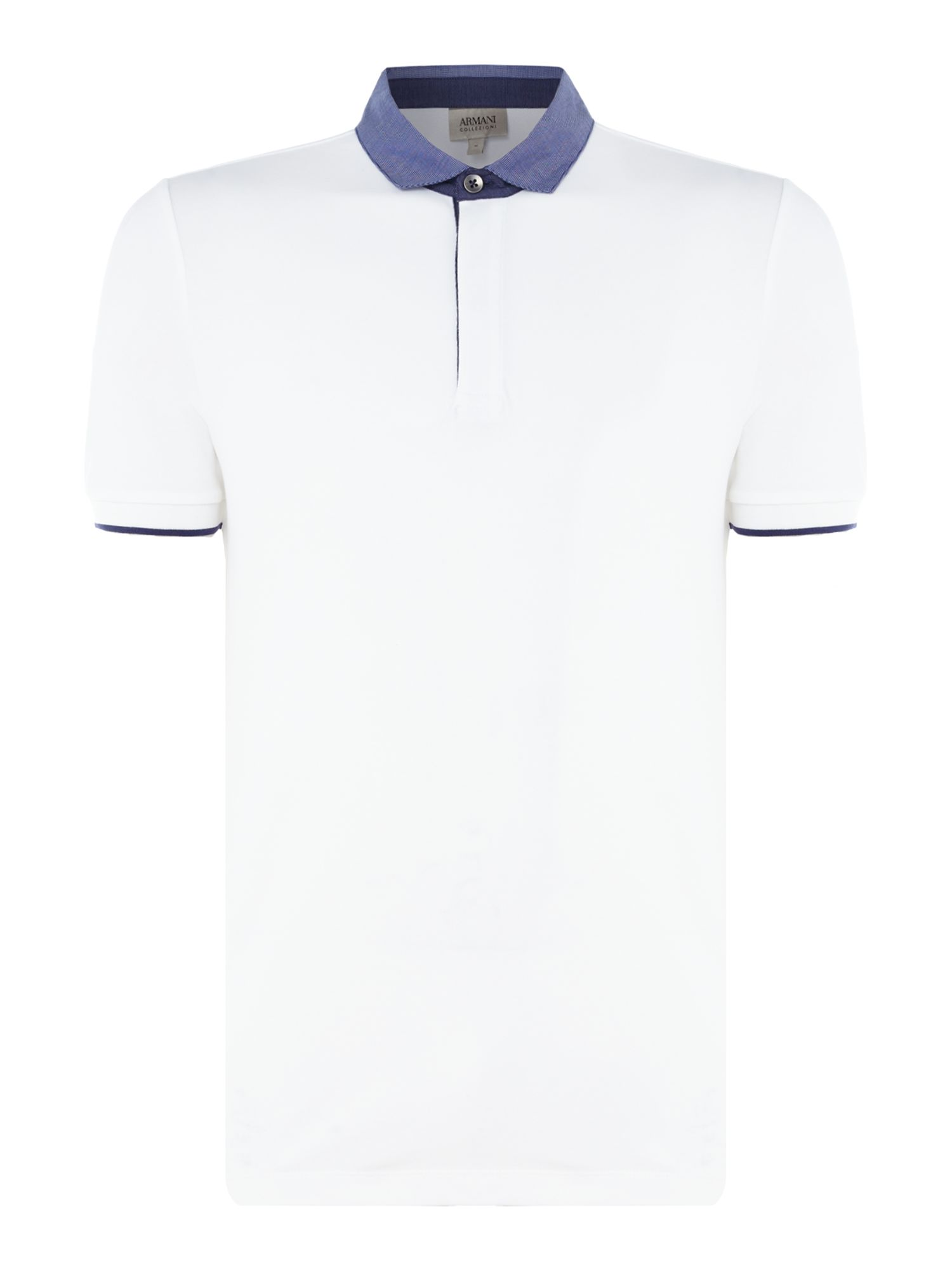 Men's Armani Collezioni Stretch Cotton Piquet Polo T-Shirt, White