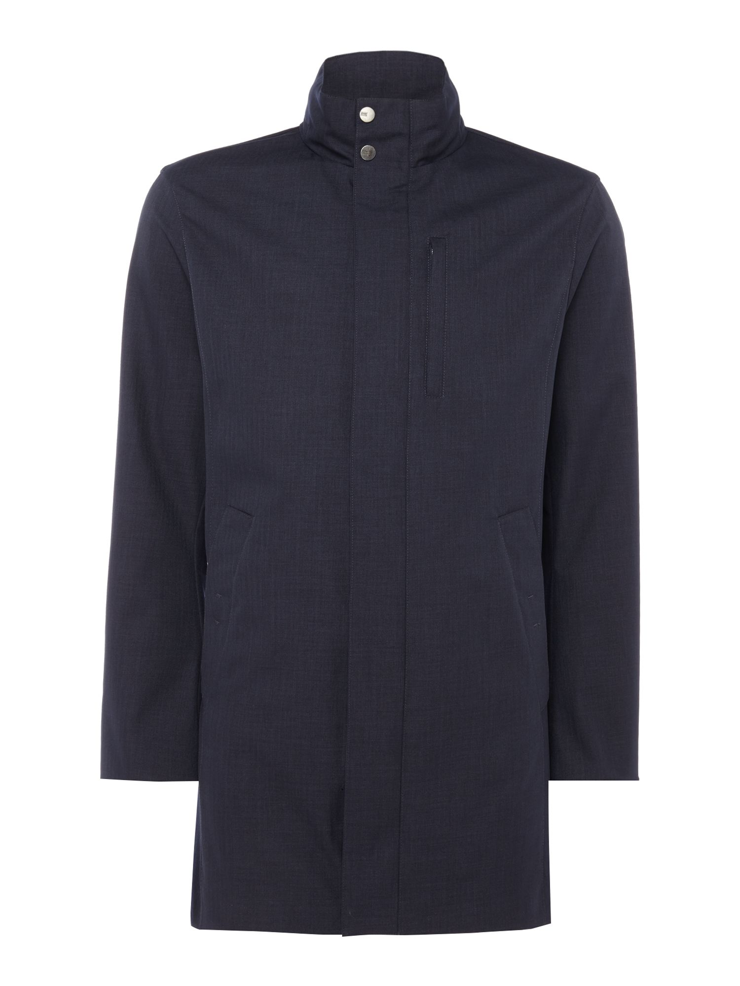 Mens Armani Collezioni Two Layers Bonded Wool Over Jacket Navy