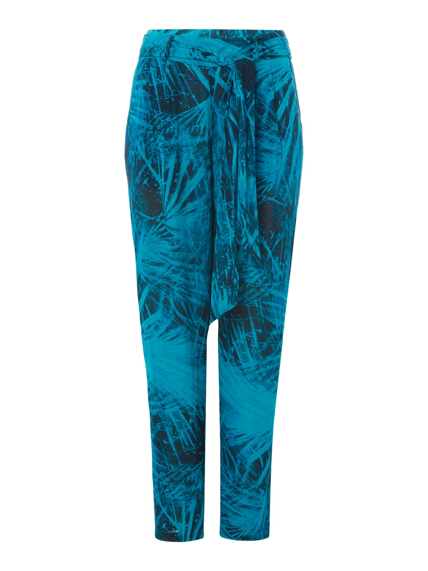 Label Lab Crinkle Palm Print Trouser, Dark Green