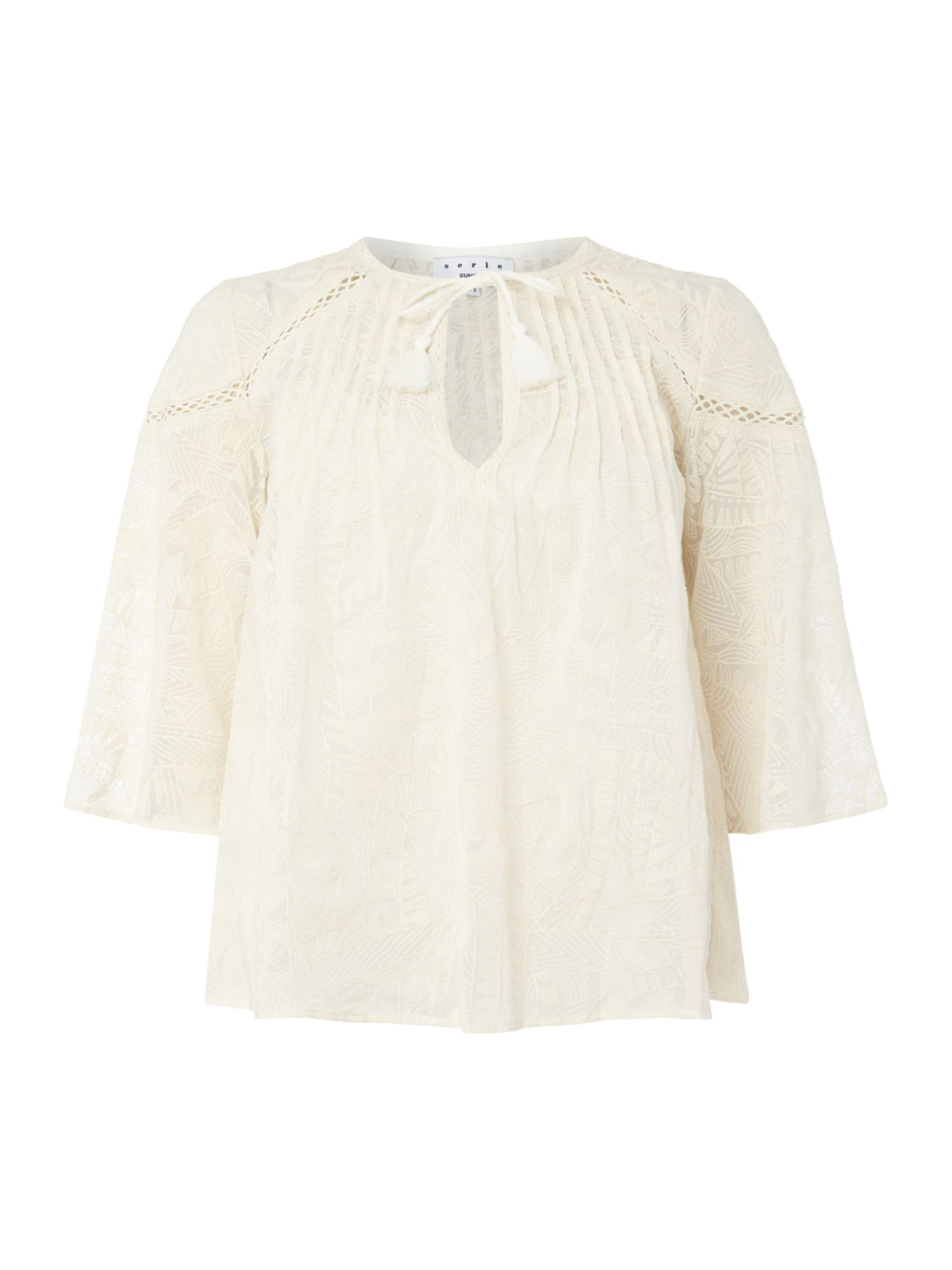 Suncoo Luke Embriodered Blouse, Cream