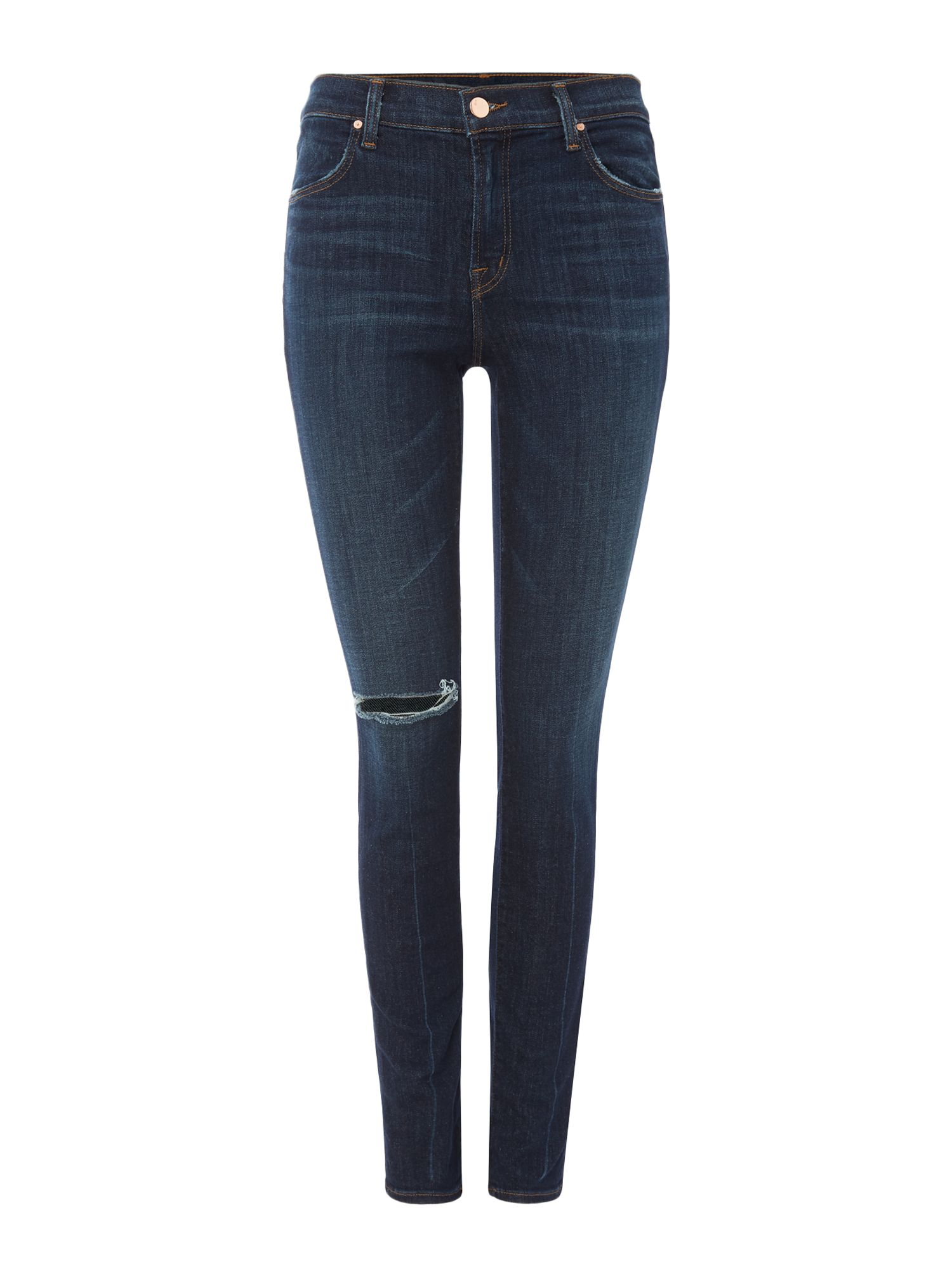 J Brand MID RISE SUPER SKINNY JEAN IN DISGUISE DESTRUCT, Denim Mid Wash