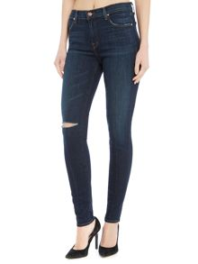 J Brand MID RISE SUPER SKINNY JEAN IN DISGUISE DESTRUCT