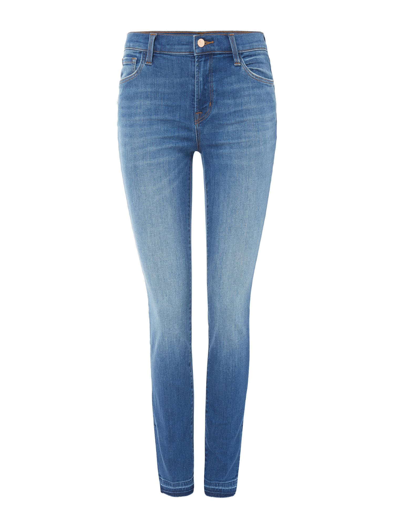 J Brand MID RISE SKINNY SIDE SLIT JEAN IN ANGELIC, Denim Light Wash