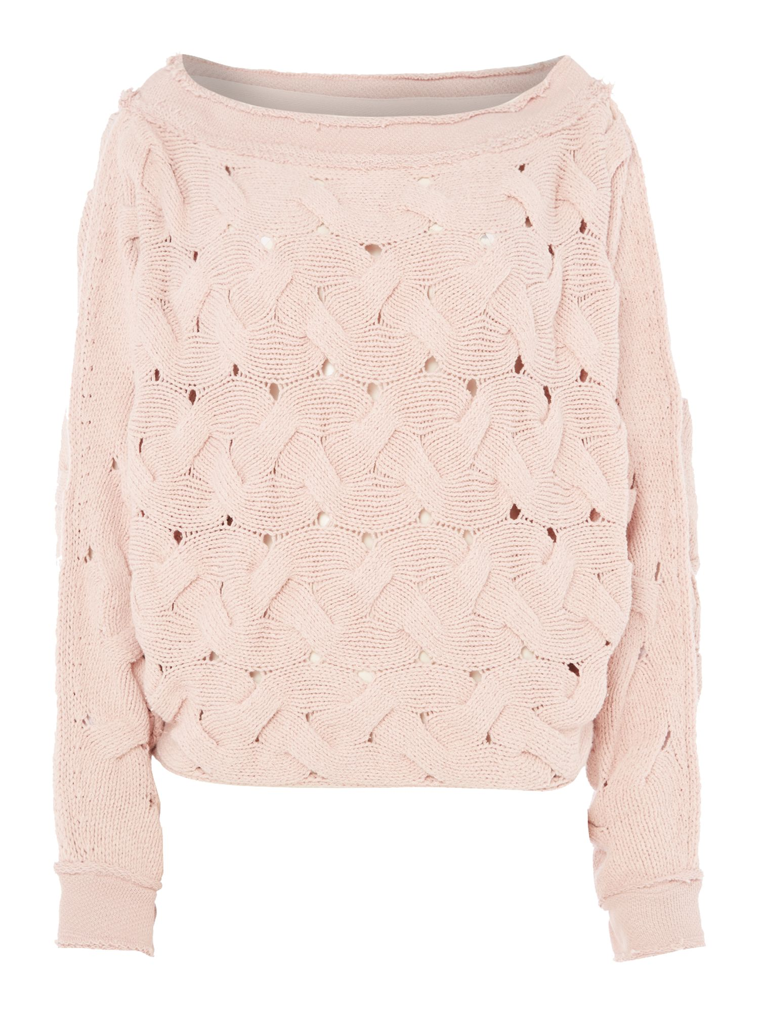 Free People Free People Relaxed fit Cable Knit Jumper in rose, Rose