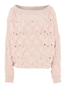 Free People Relaxed fit Cable Knit Jumper in rose