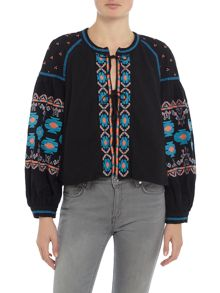 Free People Embroidered Swing Jacket in black