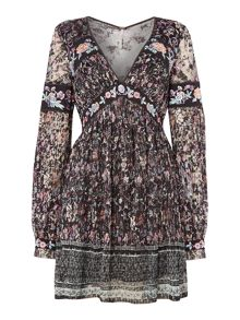 Free People Cherry Blossom Mini Dress in black