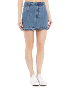 Free People Frayed Hem Denim Mini Skirt in denim light wash