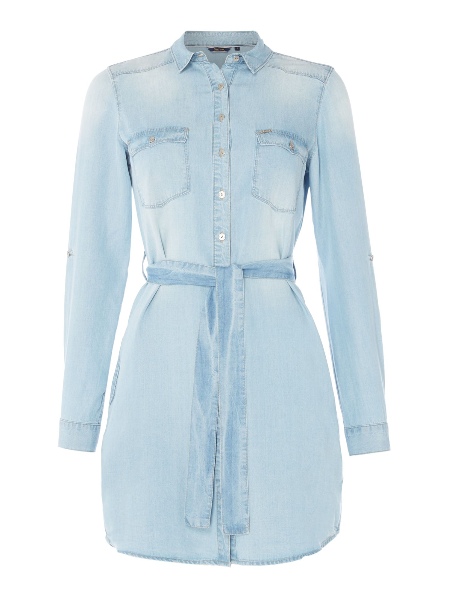 Salsa Denim shirt dress in denim light wash, Denim Light Wash