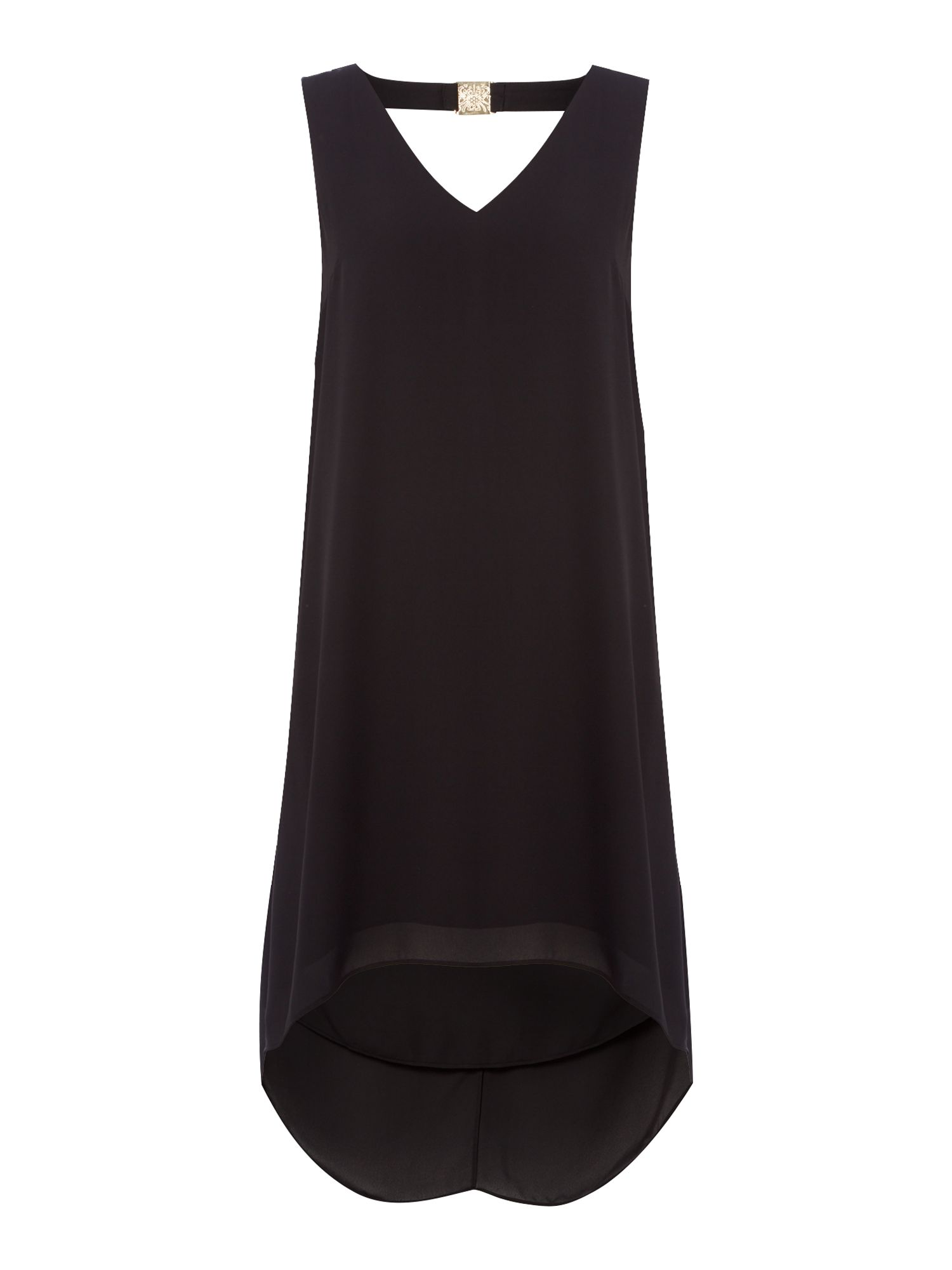 Biba Trim detail volume dress, Black