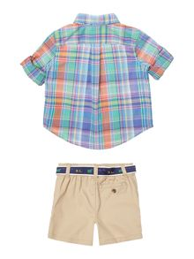 Polo Ralph Lauren Baby Boy Long Sleeve Shirt and Shorts Set