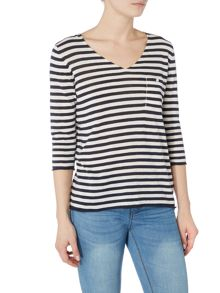 Part Two V-neck stripe top with pocket